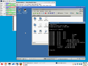 The free operating system ReactOS running within QEMU, which runs as a process on Linux