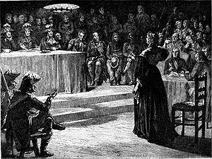 gravure en noir et blanc. L'ex-reine Marie-Antoinette répond aux questions des juges