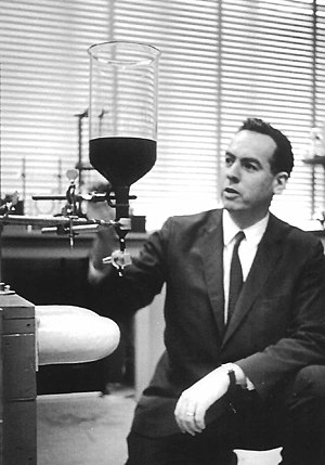 Ferrofluid - R. E. Rosensweig with ferrofluid in his lab (1965)