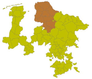 Stade (region) - The Stade Region (brown), consisting of 14 counties within the Prussian Province of Hanover (beige), in 1905.