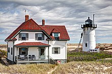 Race Point Lighthouse being painted 2012.jpg