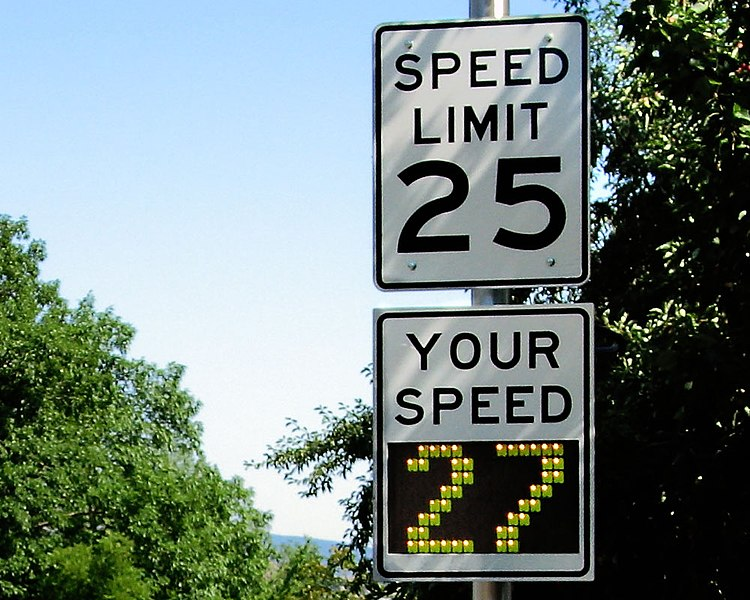 File:Radar speed sign - close-up - over limit.jpg