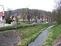 Radotín, náměstí Osvoboditelů, Radotínský potok a park.jpg
