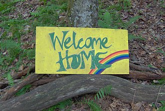 "Rainbow Gathering - ""Welcome home"" and ""We love you"" are common greetings at the Rainbow Gathering."