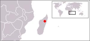 Madagascan pochard - Image: Range Madagascar Pochard
