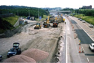 M54 motorway - The M54 undergoing critical reconstruction work, J5 (Telford Centre), 1997.