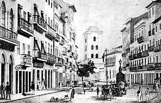 Recife Antigo - 19th Century Lithograph of Rua do Bom Jesus in Recife Antigo