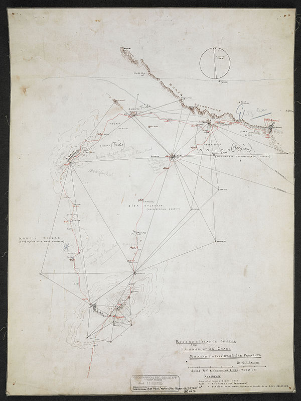 600px reconnaissance sketch and triangulation chart. marsabit   the abyssinian frontier %28woos 7 1 3%29