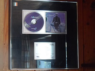 Music recording certification - Platinum record awarded to De Dannan by the Irish Recorded Music Association for their 1999 album How the West Was Won. In Ireland, a recording must sell 15,000 units to be certified platinum.