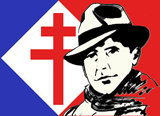 National Council of the Resistance - Drawing of Jean Moulin based on iconic photo with hat and scarf, cross of Lorraine in background
