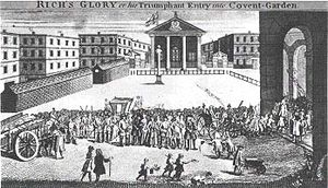 "Royal Opera House - ""Rich's Glory"": John Rich takes over (seemingly invades) his new Covent Garden Theatre. (A caricature by William Hogarth)"