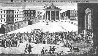 "Royal Opera House - ""Rich's Glory"": John Rich seemingly invades his new Covent Garden Theatre. (caricature by William Hogarth)"