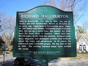Richard Halliburton - Historical marker for Richard Halliburton in Brownsville, Tennessee