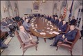 Richard M. Nixon posing with his cabinet in the cabinet room in the white house. - NARA - 194353.tif