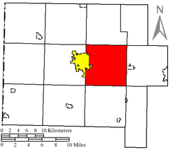 Location of Ridge Township (red) in Van Wert County, next to the city of Van Wert (yellow)