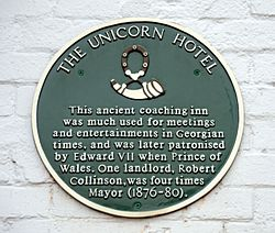 Photo of Edward VII, The Unicorn Hotel, Ripon, and Robert Collinson green plaque