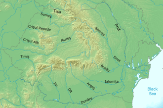Romania in the Middle Ages - The Carpathian Mountains and the main rivers in modern Romania