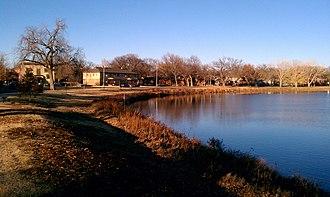 Riverside, Wichita, Kansas - Riverside homes along Stackman Drive and the Little Arkansas River (2012)