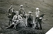 Robert Moyes Adam (L) on a Scottish Alpine Botanical Club outing c.1929 including Regius Keeper William Wright Smith. (2nd from R)