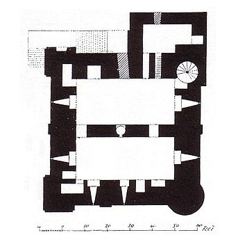 Rochester Castle - A plan of Rochester Castle's Keep from MacGibbon and Ross's The castellated and domestic architecture of Scotland from the twelfth to the eighteenth century (1887)