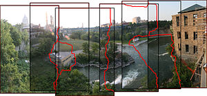 Image stitching - Example for geometrical registration and stitch line in panorama creation.