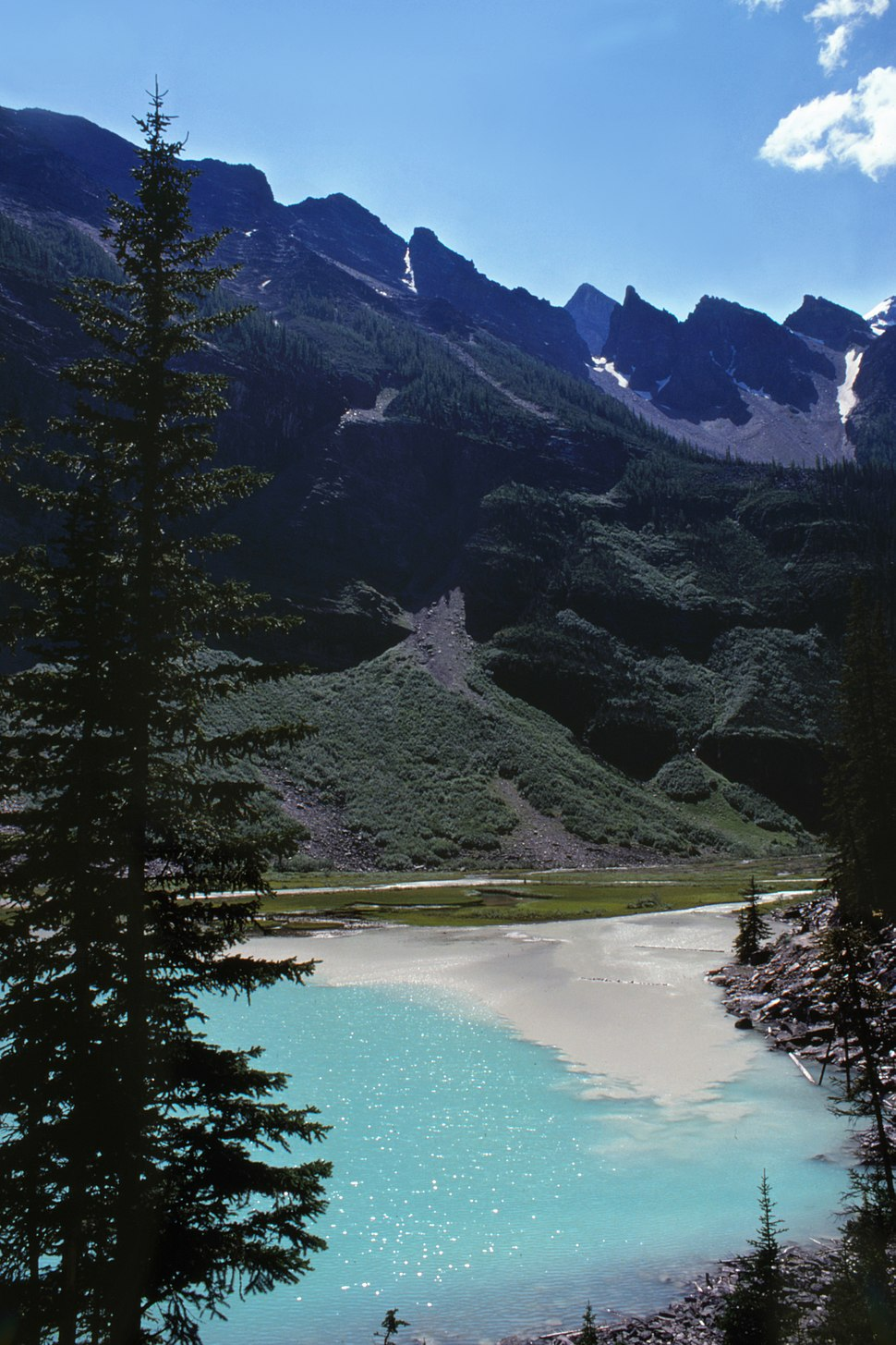 Rock flour from glacial melt enters headwaters at Lake Louise