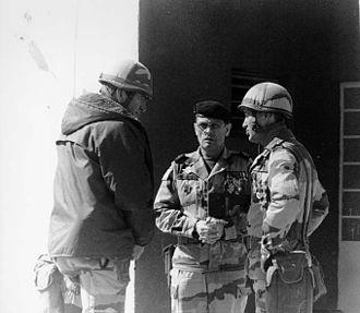 Bernard Janvier - général Roquejoffre, commandant of Operation Daguet, and général Janvier at As Salman (Iraq) on March 10, 1991.