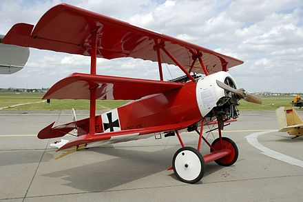 Replica of Richthofen's Fokker Dr.I triplane, at the Berlin Air Show in 2006 RoteBaron.JPG