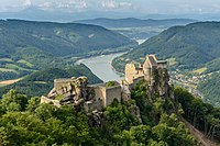 Ruins of Aggstein Castle on the Danube River in Austria