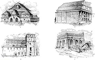 Synagogue architecture - Various wooden synagogue exteriors from Eastern Europe