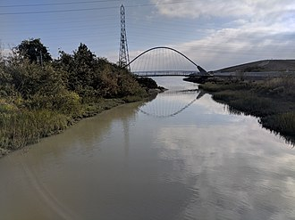San Mateo Creek (San Francisco Bay Area) - The Ryder Park pedestrian bridge is the last crossing of San Mateo Creek before it flows into the Bay.