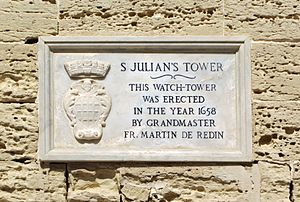 Saint Julian's Tower - Plaque at St. Julian's Tower