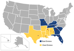 Southeastern Conference - Image: SEC USA states 2011
