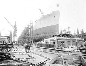 Bethlehem Sparrows Point Shipyard - S.S. Hoxbar ready for launching at Sparrows Point, Maryland, February 15, 1919