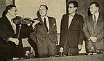 Sam Levenson, Jack Benny, George S. Kaufman, and Clifton Fadiman, 1952.jpg