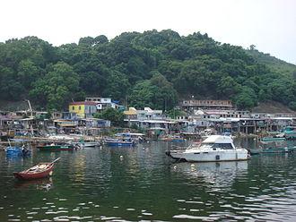 Yim Tin Tsai (Tai Po) - Sam Mun Tsai New Village viewed from Shuen Wan Typhoon Shelter.