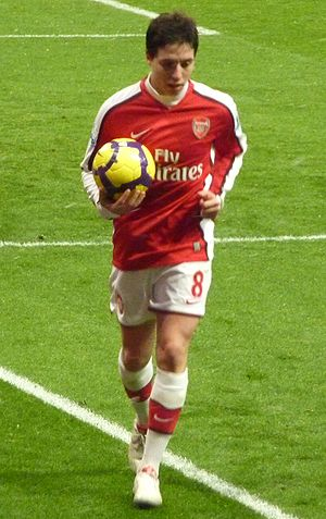 Samir Nasri - Nasri preparing to take a corner kick for Arsenal.