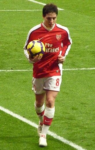 Samir Nasri - Nasri preparing to take a corner kick for Arsenal.