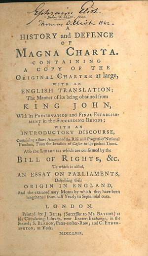 Samuel Johnson (pamphleteer) - Image: Samuel Johnson, A History and Defence of Magna Charta (1st ed, 1769, title page)