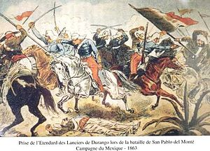 Chasseurs d'Afrique - Chasseurs d'Afrique taking the standard of the Durango lancers at the Battle of San Pablo del Monte.