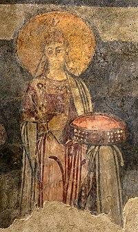 San lorenzo in insula, cripta di epifanio, affreschi di scuola benedettina, 824-842 ca., teoria di sei sante in costume bizantino, 12.jpg