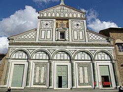 San Miniato al Monte, Florence, presents of polychrome marble facade favoured in Tuscany.