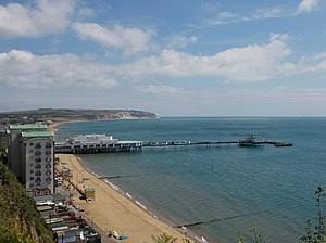 Sandown - Sandown Pier, with Culver Cliff behind