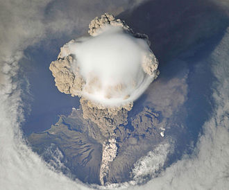 Pileus (meteorology) - Pileus forming over the ash cloud from an eruption of Sarychev Peak