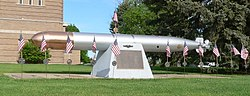 Memorial to World War II submarine USS Wahoo on front lawn of Saunders County Courthouse in Wahoo