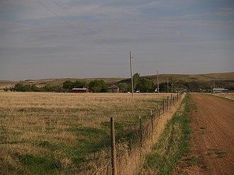 Schafer, North Dakota - Fenceline along a road in Schafer