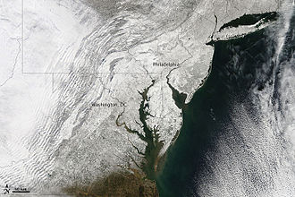 February 9–10, 2010 North American blizzard - Satellite view of the area on February 12. (From NASA MODIS)