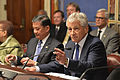 Secretary of Defense Chuck Hagel, foreground right, and Secretary of Veterans Affairs Eric Shinseki, center left, participate in a congressional round-table discussion about the Department of Veterans Affairs 130522-D-NI589-103.jpg