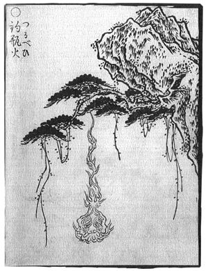 "Tsurubebi - ""Tsurubebi"" (釣瓶火) from the 'Gazu Hyakki Yagyō by Toriyama Sekien"