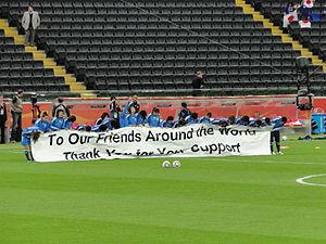 Japan women's national football team - Image: Seleção japonesa agradece o apoio da torcida (DSC01105)
